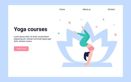 Yoga courses concept. Woman in a pose, doing yoga. The illustration of healthy lifestyle. Relaxing and calm posture. Flat modern design. Can use for landing page, template, web, app, poster, banner.