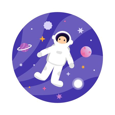 Cute astronaut in outer space. Flat vector cartoon design illustration. Isolated white background. Stock Illustratie