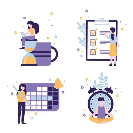 Effective Time management concept flat vector illustration, icons set, isolated images with human characters and symbols clock, calendar, to do list.