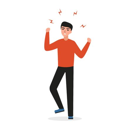 Mental disorders stress, depression, disappointed man feels tension, hatred, anger. Male character expresses his negative emotions. Flat vector cartoon illustration.
