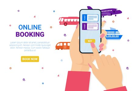 Female hands hold the phone. Airplane, bus, train, cruise ship, railway. Booking online tickets now. Flat vector concept illustration for web page, banner, poster, template, layout.