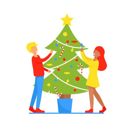 Man and woman at home decorate the christmas tree. Happy New Year Xmas day. Couple in love. Romance relationship. Flat vector illustration. Stock Illustratie