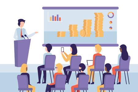 Konzeptseminarsprecher, der Präsentationen und professionelle Schulungen über das Wachstum des Geschäfts macht. Flache Vektorgrafik der Präsentationskonferenz und Gründung Ihres eigenen Unternehmens. Vektorgrafik