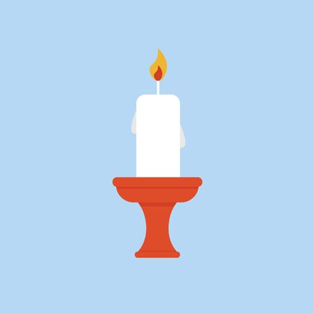 Candle in candlestick isolated on blue background. Flat vector illustration.