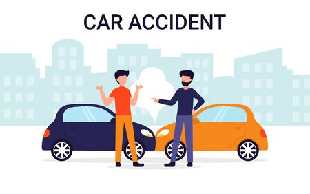 Car accident on the road concept. Flat vector illustration. Can use for landing page, template, website, application, poster, banner, layout. Stock Illustratie