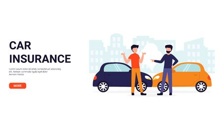 Car insurance. Accident on the road concept. Flat vector illustration. Can use for landing page, template, website, application, poster, banner, layout. Stock Illustratie