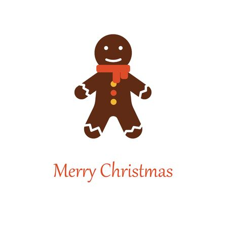 Ginger bread. Xmas and new year symbol. Flat vector cartoon illustration isolated white background. Stock Illustratie