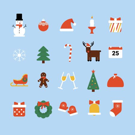 Set of flat Christmas and Happy New Year icons, xmas holiday. Flat vector cartoon style illustration isolated blue background. Stock Illustratie