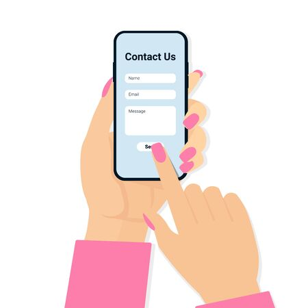 Contact us web page concept banner, poster, template. Woman hand holding phone. Modern flat vector illustration design.