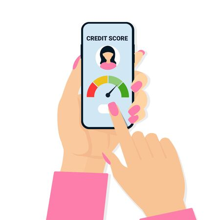 Credit score concept. Flat vector scale changing credit information from poor to good. Woman hands holding phone and touch screen.