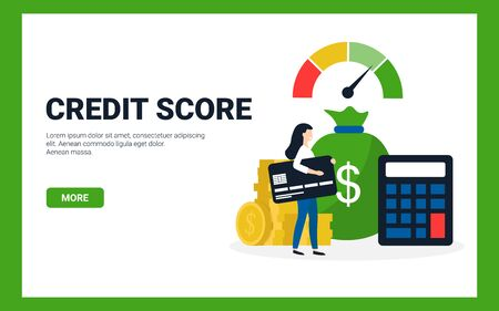 Credit score concept. Flat vector scale changing credit information from poor to good, calculator, coins, woman with card.