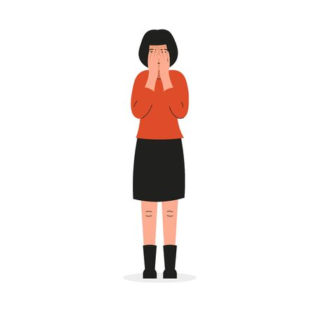 Girl covers her face and cries. Sad female character, bad emotions, solitude, Flat vector illustration design.
