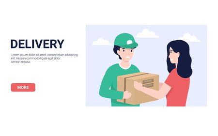 Delivery man and woman customer. Concept for banner, poster, layout, website. Flat modern vector illustration.