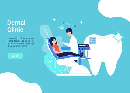 Dental clinic and health care flat vector concept. Doctor dentist and patient woman in chair. Illustration for web page, banner, poster, template, layout.
