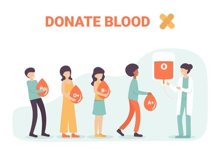 Volunteers people characters hold drops og blood for donation and help sick people. Blood types, different variation. Flat vector cartoon illustration for landing page, template, website, app.
