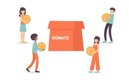 People characters volunteers holding money, coins for charity into huge donation box. Flat vector cartoon illustration isolated white background.