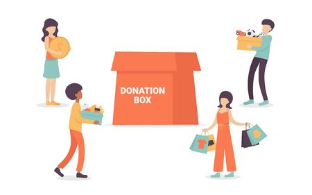 People characters volunteers bring goods for charity into huge donation box, food, clothes, money, toys. Flat vector cartoon illustration isolated white background.