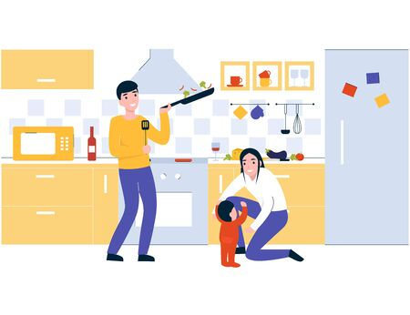 Happy family cooking healthy nutrition. Spend time with family, lifestyle, prepare tasty food on kitchen together. Flat vector modern cartoon illustration concept.