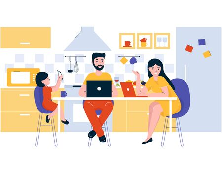 Concept happy young family sits in the kitchen at the table. Dad and mom work on the Internet at a laptop. Daughter watches cartoons on the phone. Kitchen room in modern flat line style.