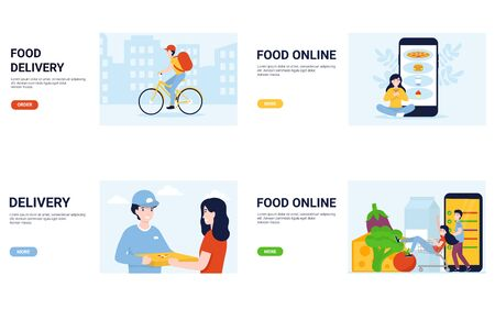 Set delivery and order food online concepts. Flat vector illustration in modern style for landing page, template, website, app, poster, banner, layout.
