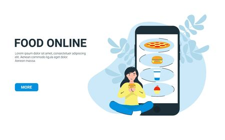 Happy woman eat hamburger and order food online use app store on mobile phone. Flat vector cartoon illustration. Can use for landing page, template, website, application, poster, banner, layout.