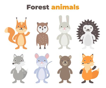 Cute forest animals set in flat style isolated on white background. Cartoon wild mouse, hedgehog, fox, hare, squirrel, owl, wolf, bear.