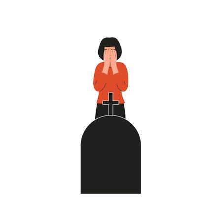 Woman crying over the grave. Girl covers her face and cries. Sad female character, bad emotions, solitude. Flat vector cartoon illustration design.