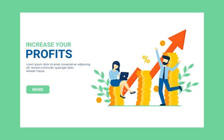 Business concept increase your profits banner. Flat vector cartoon man and woman characters, coins illustration. Profit growth web poster. Stock Illustratie