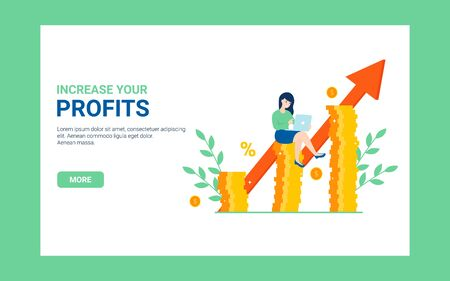 Business concept increase your profits banner. Flat vector cartoon woman character with laptop, coins illustration. Profit growth web poster.