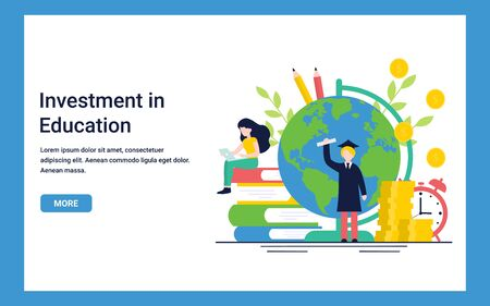 Education concept for website and landing page template. Investment in knowledge, student loans, scholarships, online education. Flat vector illustration.