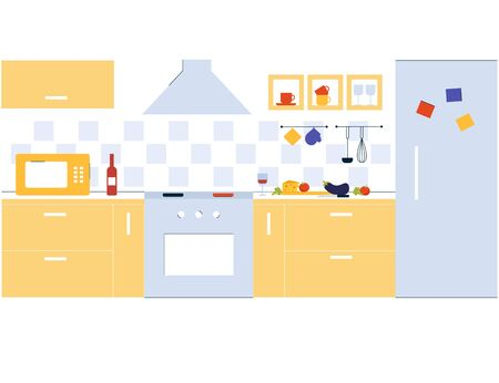 Interior design kitchen room in modern flat line style. Cooking lunch. Concept illustration.