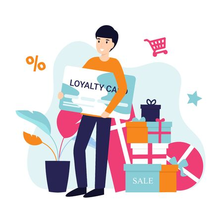 Loyalty program concept. Character man with a card in his hands. Bonuses, sales, gifts, online shopping. Flat vector cartoon illustration.