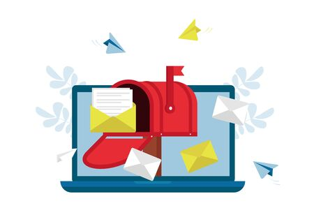 Mail service, message, notification sending. Social network, spam, chat, sms. Flat vector illustration. Can use for landing page, template, website, application, poster, banner, layout.