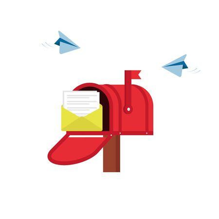 Servizio di posta, invio di notifiche, messaggio. Social network, chat, spam, sms. Piatto di vettore del fumetto illustrazione isolato su fondo bianco.