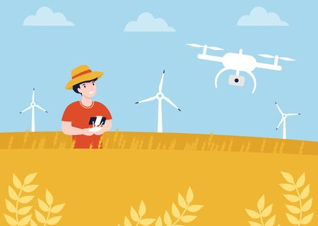 Agronom in the wheat field. Quadrocopter, dron control. Modern Quadcopter with camera flying over field.