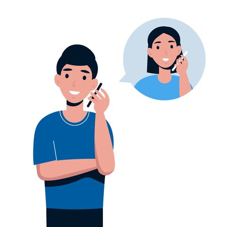 Man talking by telephone with girlfriend. Communication and conversation with smartphone. Flat vector cartoon illustration of phone call, speaking, calling and chatting.