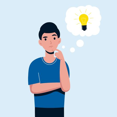 Man is thinking. Male character looking for an idea for startup his business. Flat vector cartoon illustration.