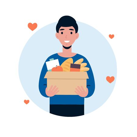 Man character volunteer hold big box of foods. Food donation concept. Flat vector cartoon illustration isolated white background. Stock Illustratie