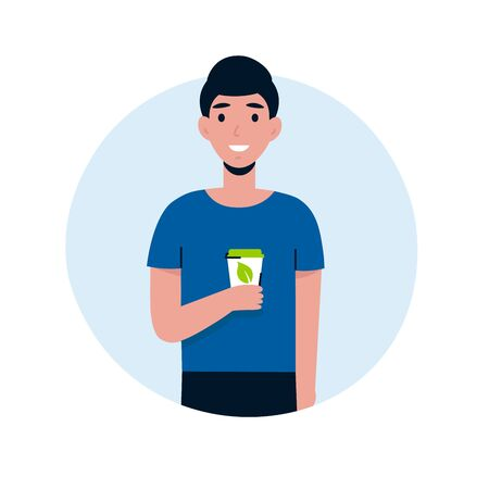 Young guy use eco cup, coffee in reusable glass. Ecology happy man character. Save the planet, zero waste life style. Flat vector cartoon illustration. Stock Illustratie