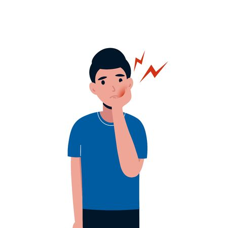 Trauriger Mannpatient, der unter Zahnschmerzen leidet. Männchen mit starken Zahnschmerzen. Starke Schmerzen in den Zähnen. Flache Vektorzeichenillustration lokalisierte weißen Hintergrund.