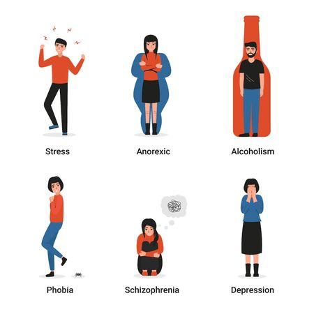 Colección de hombres y mujeres con trastornos mentales. Estrés, depresión, anorexia nerviosa, fobia, esquizofrenia, alcoholismo, problemas psiquiátricos y psicológicos. Ilustración de dibujos animados de vector plano. Ilustración de vector