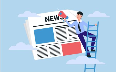 News update, online news, news website, newspaper. Business man character with shout. Flat style vector illustration. Concept for banner, poster, layout, website, template.