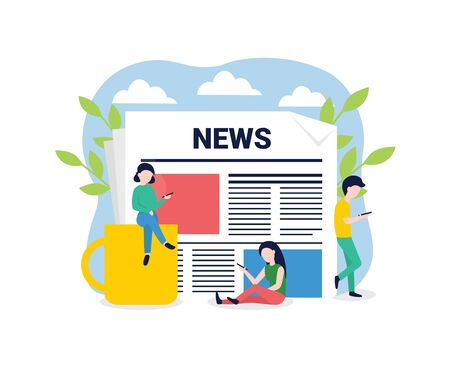 News update, online news, news website, newspaper. Flat style vector illustration. People characters with phones. Concept for banner, poster, layout, website, template.