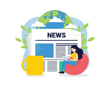 News update, online news, news website, newspaper. Flat style vector illustration. Woman with laptop, World Planet, cup of coffee. Concept for banner, poster, layout, website, template. Stock Illustratie