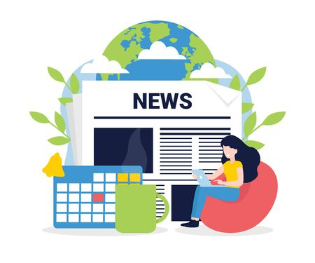 News update, online news, news website, newspaper. Flat style vector illustration. Woman with laptop, calendar, cup of coffee. Concept for banner, poster, layout, website, template.
