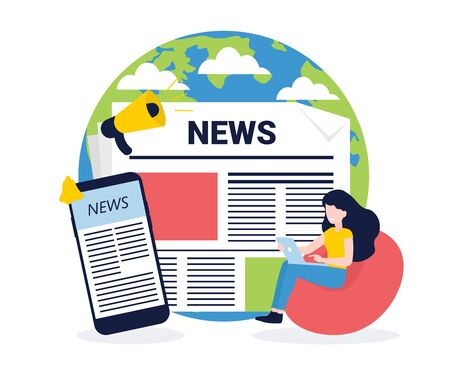 News update, online news, news website, newspaper. Flat style vector illustration. Concept for banner, poster, layout, website, template.