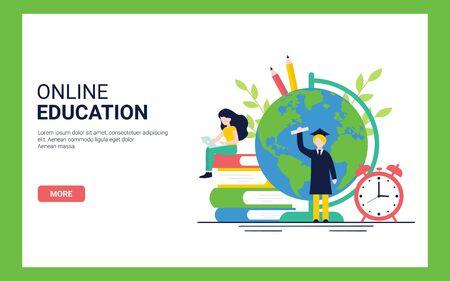 Concepto de educación en línea para sitio web y plantilla de página de destino. Ilustración de vector plano.