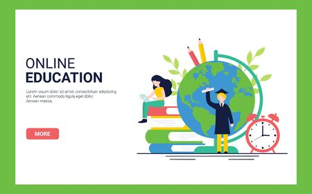 Online Education concept for website and landing page template. Flat vector illustration. Stock Illustratie