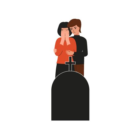 Man hugs a crying girl. Woman crying over the grave. Sad female character, bad emotions, solitude. Flat vector cartoon illustration design. Stock Illustratie