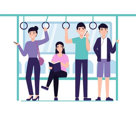 People ride the subway, metro, bus, train. Male and female characters in public transport. Flat vector cartoon design illustration. Stock Illustratie